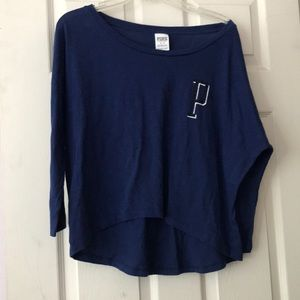 VS PINK Navy Crop 3/4 Sleeve Logo Tee